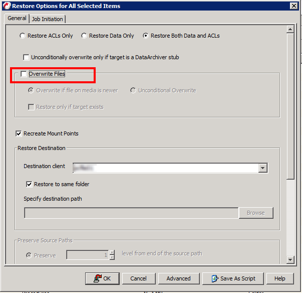 In CommVault here is the Overwrite option we want to ensure is disabled